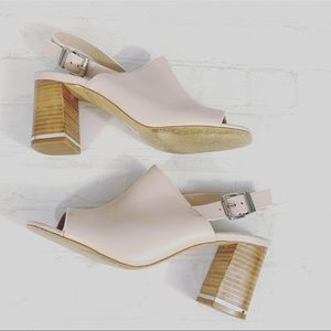 Asos Ankle Strap Peep Toe Block Heel Shoes Size 5
